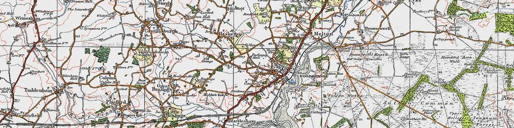 Old map of Woodbridge in 1921