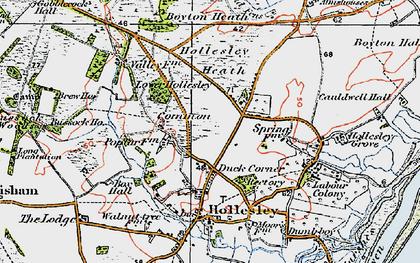 Old map of Woodbridge Walk in 1921