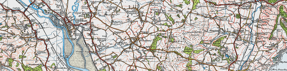 Old map of Woodbury Common in 1919