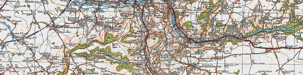 Old map of Woodchester in 1919