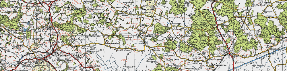 Old map of Woodchurch in 1921