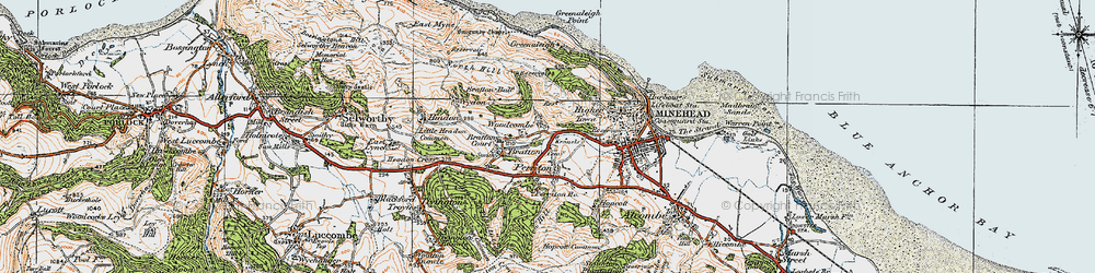 Old map of Woodcombe in 1919