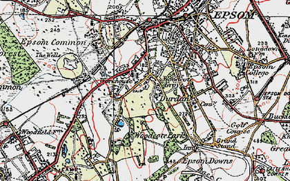 Old map of Woodcote in 1920