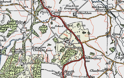 Old map of Woodcote in 1921