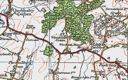 Old map of Woodcote Manor Ho in 1919