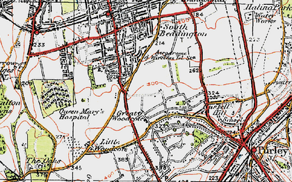 Old map of Woodcote Green in 1920
