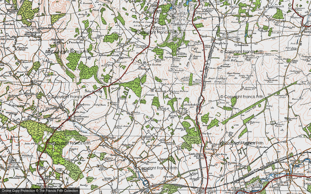 Old Map of Woodcott, 1919 in 1919