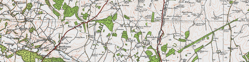 Old map of Woodcott in 1919