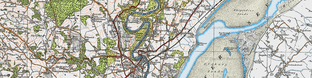 Old map of Woodcroft in 1919
