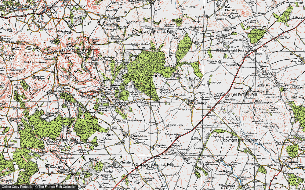 Old Map of Woodcutts, 1919 in 1919