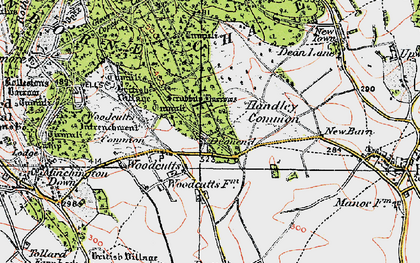 Old map of Woodcutts in 1919