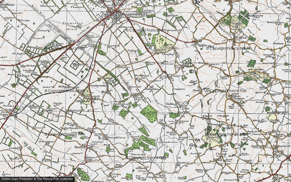 Old Map of Woodditton, 1920 in 1920