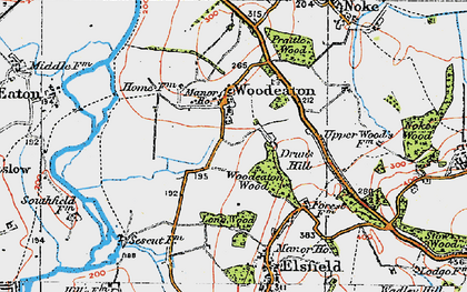 Old map of Woodeaton in 1919
