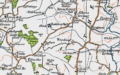 Old map of Woodend in 1919