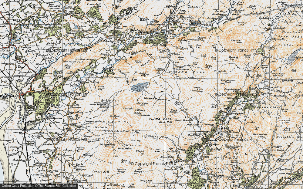Old Map of Historic Map covering Wood Knotts in 1925
