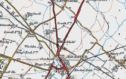 Old map of Woodfield in 1919