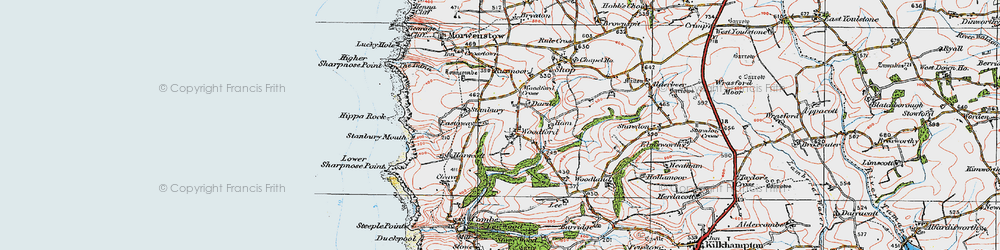 Old map of Woodford Cross in 1919