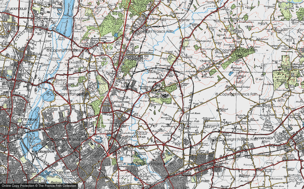 Old Map of Woodford Bridge, 1920 in 1920