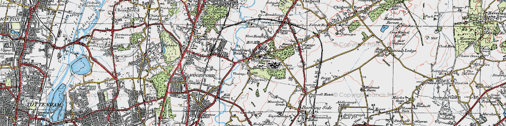 Old map of Woodford Bridge in 1920