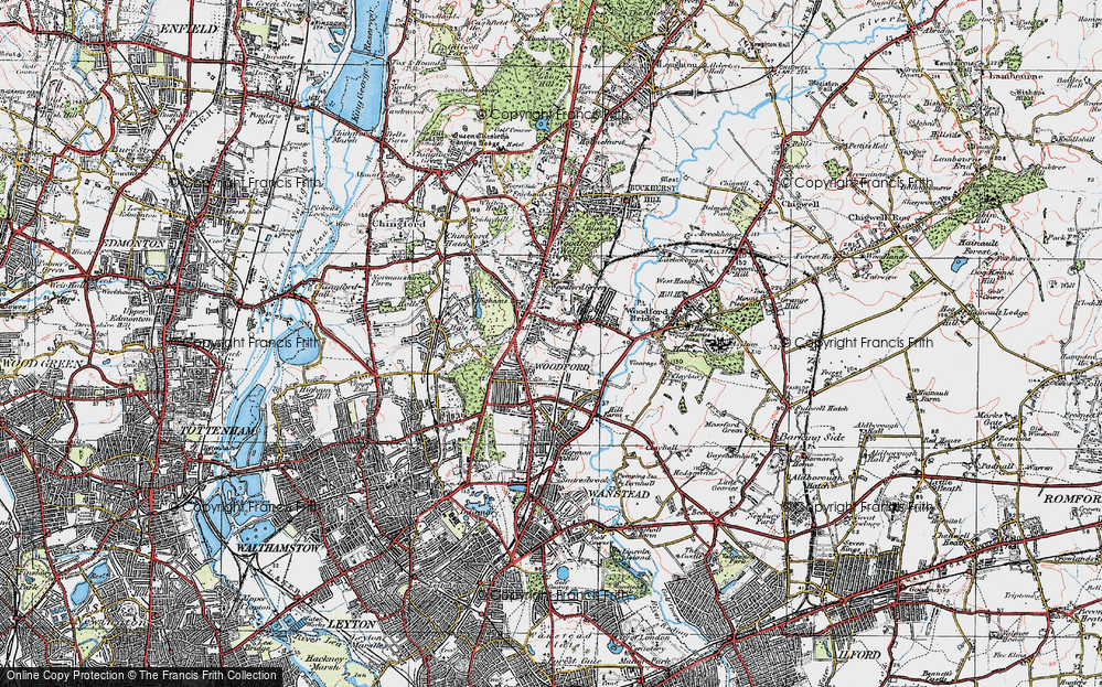 Old Map of Woodford Green, 1920 in 1920