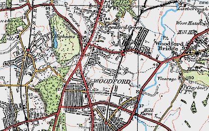 Old map of Woodford Green in 1920
