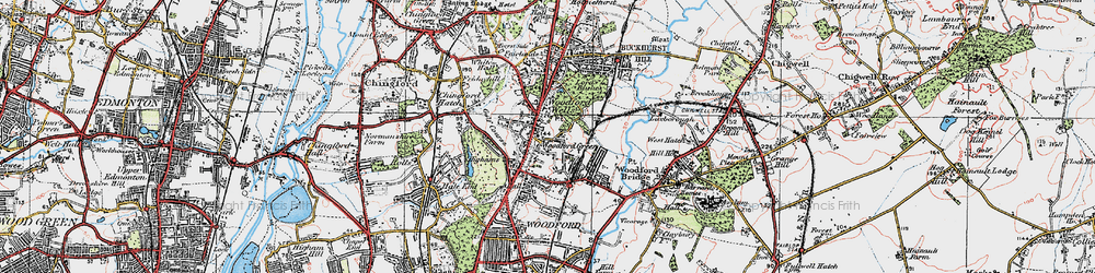 Old map of Woodford Wells in 1920