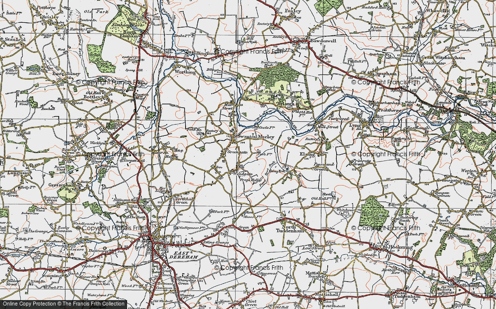Old Map of Woodgate, 1921 in 1921