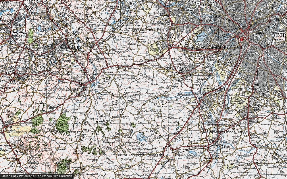 Old Map of Woodgate Valley, 1921 in 1921