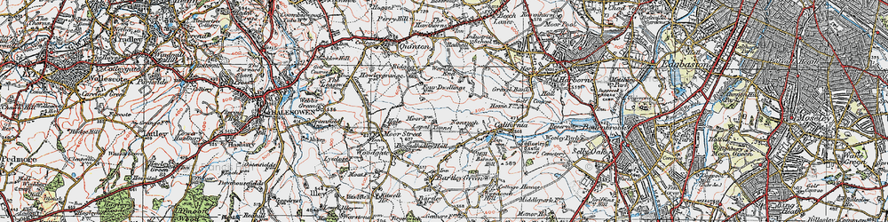 Old map of Woodgate Valley in 1921
