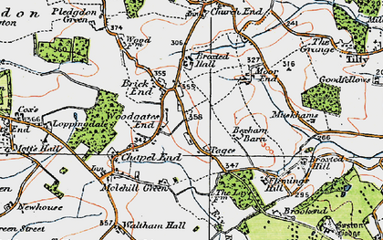 Old map of Woodgates End in 1919