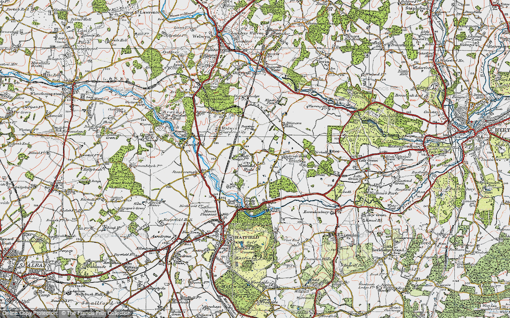 Old Map of Woodhall, 1920 in 1920