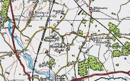 Old map of Woodhall in 1920