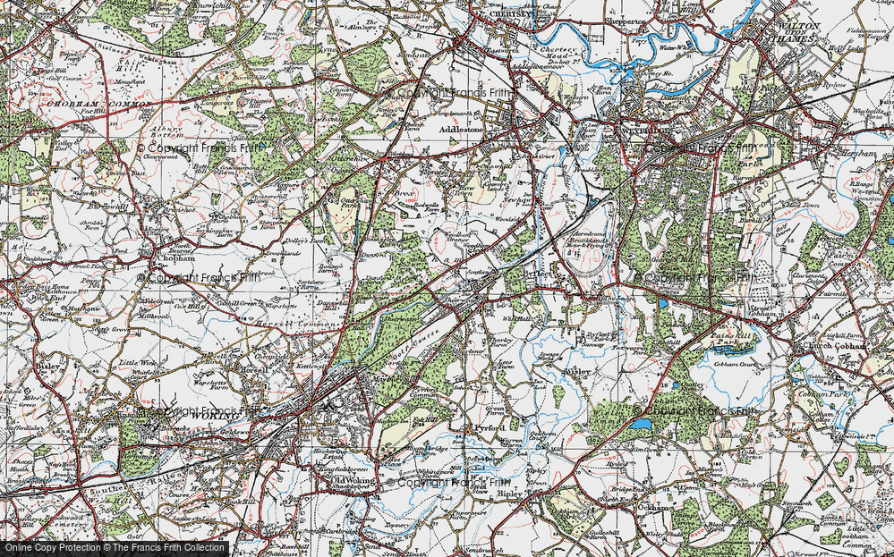 Old Map of Woodham, 1920 in 1920