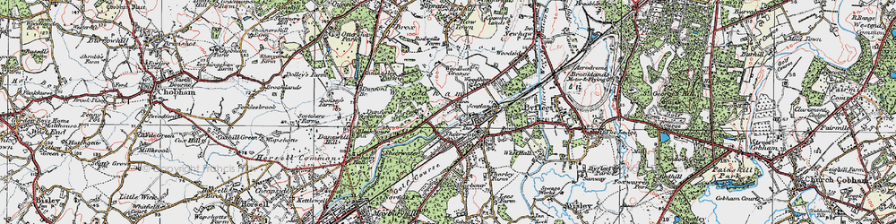 Old map of Woodham in 1920