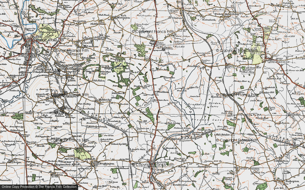 Old Map of Historic Map covering Woodham Burn in 1925