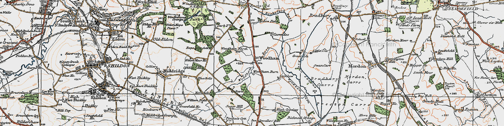 Old map of Woodham in 1925