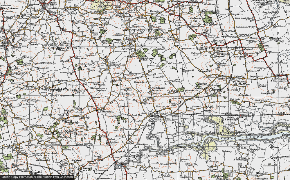 Old Map of Woodham Ferrers, 1921 in 1921