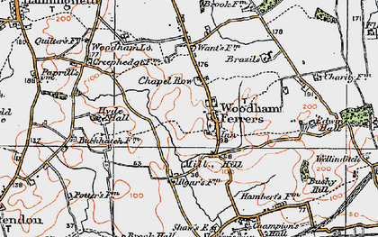 Old map of Woodham Ferrers in 1921