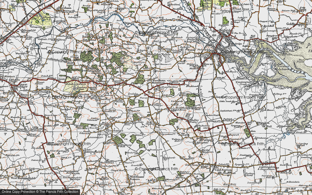 Old Map of Woodham Mortimer, 1921 in 1921