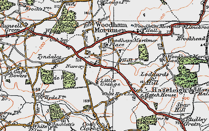 Old map of Woodham Mortimer in 1921