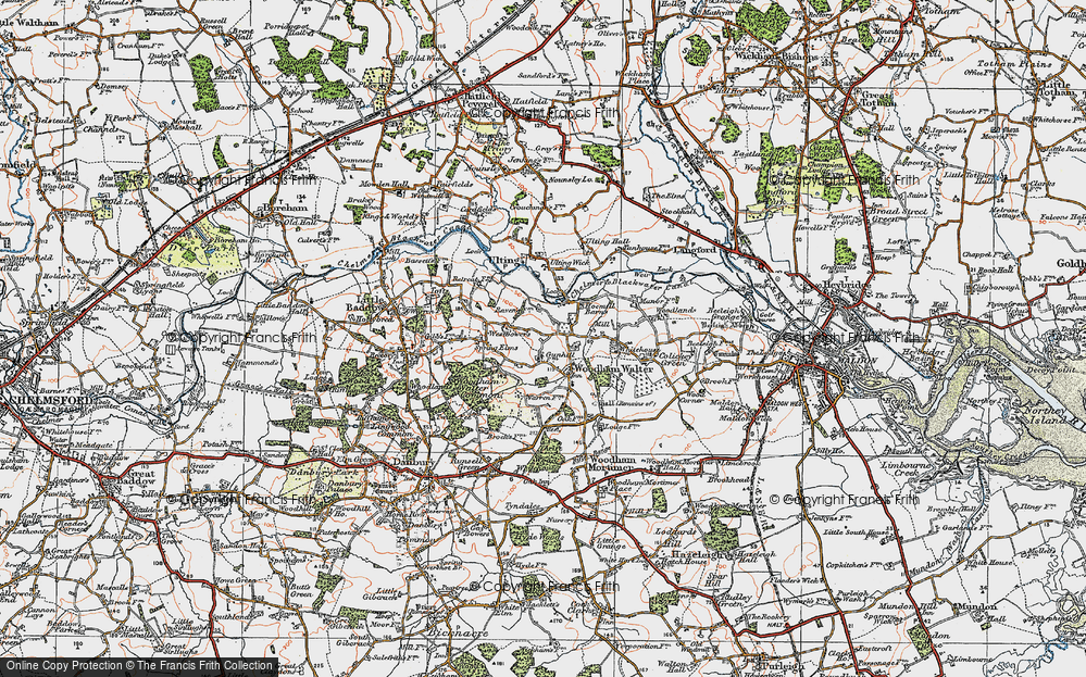 Old Map of Woodham Walter, 1921 in 1921