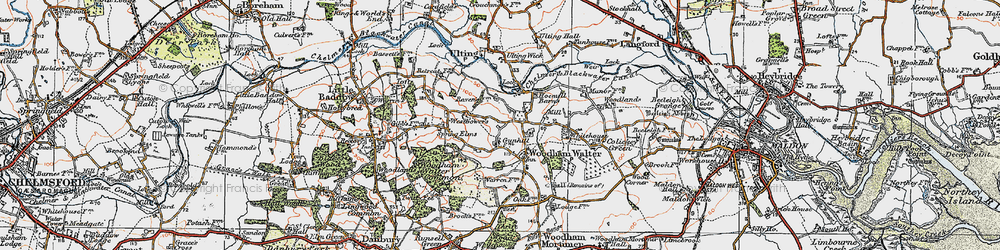 Old map of Woodham Walter in 1921