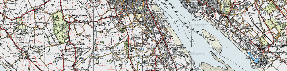 Old map of Woodhey in 1924