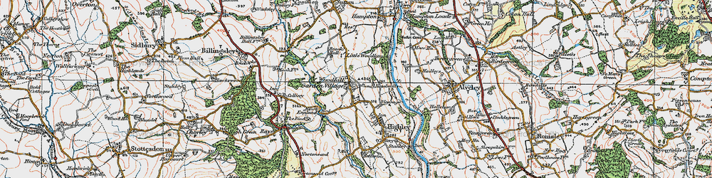 Old map of Woodhill in 1921
