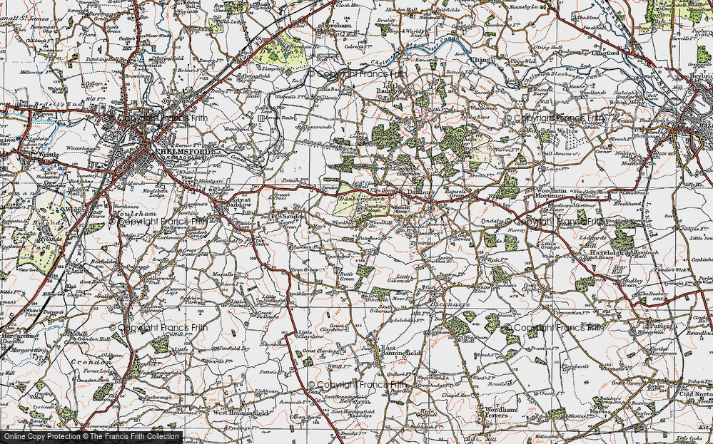Old Map of Woodhill, 1921 in 1921