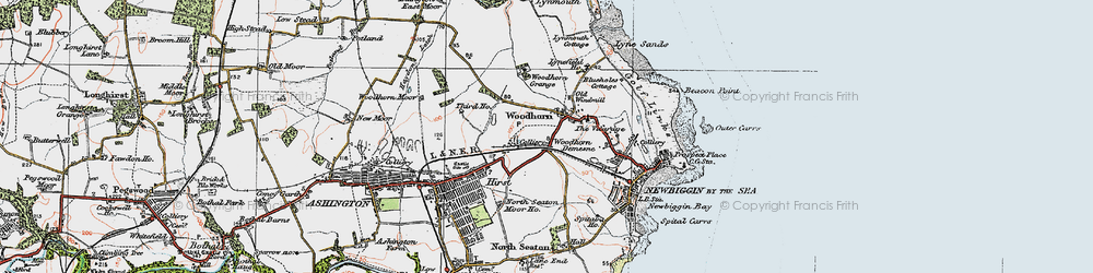 Old map of Woodhorn in 1925