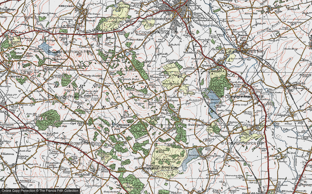 Old Map of Woodhouse Eaves, 1921 in 1921