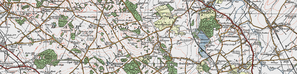 Old map of Woodhouse Eaves in 1921
