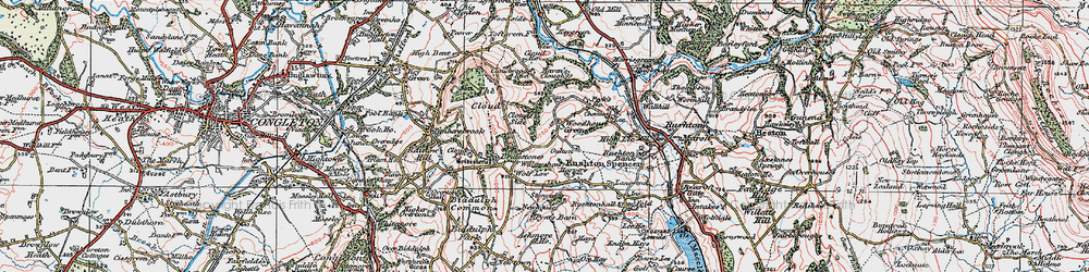 Old map of Woodhouse Green in 1923