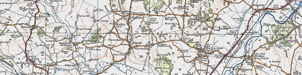 Old map of Woodhouses in 1921